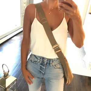 Christian Dior beige guitar strap crossbody bag